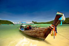 Thailand. Beautiful long tail boats in phi phi island, phuket, Thailand Royalty Free Stock Images