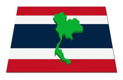 Thailand 3d map on flag Stock Image