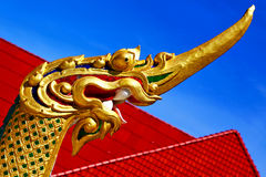 Thailand abstract cross wood drake incision roof red wat Stock Image