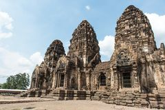 Thailand ancient old temple made from red brick and lime stones Royalty Free Stock Image
