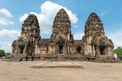 Thailand ancient old temple made from red brick and lime stones Royalty Free Stock Images