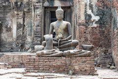 Thailand ancient old temple made from red brick and lime stones Royalty Free Stock Photo