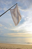 Thailand. Andaman sea. Ko Kho Khao island. Beach. Thailand. Andaman sea. Ko Kho Khao island. Deserted sand beach and white flags Stock Photo