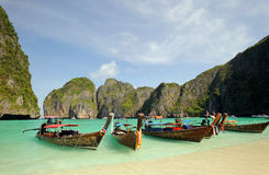 Thailand. Andaman sea. Phi Phi island. Maya bay. Thailand. Andaman sea. Phi Phi island. Thai boats on Maya bay lagoon stock photography