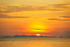 Thailand. Andaman sea. Phi Phi island. Sunrise. Thailand. Andaman sea. Phi Phi island. Magic sunrise landscape with island on horizon and rising sun Stock Photos