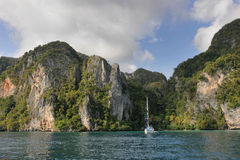 Thailand. Andaman sea. Phi Phi island. White yacht Stock Photography