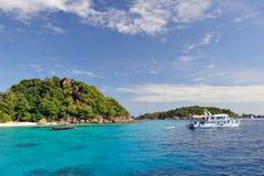 Thailand. Andaman sea. Similan. Diving boat. Thailand. Andaman sea. Similan islands. Sand beach, calm blue sea, splendid green, big stones and diving boat royalty free stock images