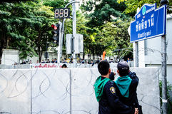 Thailand anti-regerings- protest Royaltyfri Bild