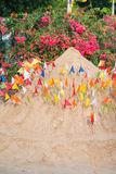 Thailand 13 Apr :: Sand and colorful flag for pray in Songkran F Royalty Free Stock Photos