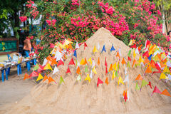 Thailand 13 Apr :: Sand and colorful flag for pray in Songkran F. Estival , on 13 April 2015 Thailand Stock Photo