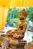 Thailand 13 Apr :: sprinkle water onto a Buddha image in Songkra Royalty Free Stock Images
