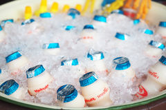 THAILAND-APRIL 20, 2017: Photo of yakult drink on ice for good h Royalty Free Stock Image