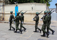 Thailand Army Marching. Thailand army group patrol around the Royal Grand Palace in Bangkok,Thailand Stock Images