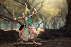 Thailand The art culture Khon. Or Ramayana Story man under the mask stock photography