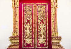 Thailand art temple door. The art sculpture of Thailand temple door Stock Photos