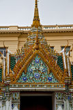 Thailand asia   in     roof wat  palaces     sky      and Royalty Free Stock Image