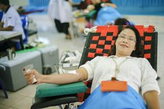 THAILAND-AUGUST,23 :Young women donate blood to the Thai National Council. THAILAND AUGUST,23 2017 Royalty Free Stock Photo