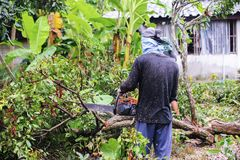 16 Thailand-AUGUSTUS: Jonge mensen scherp hout dat als brandhout moet worden gebruikt THAILAND 16 AUGUSTUS, 2017 Royalty-vrije Stock Foto
