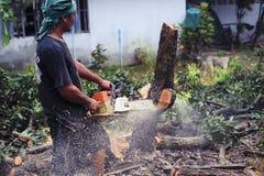 16 Thailand-AUGUSTUS: Jonge mensen scherp hout dat als brandhout moet worden gebruikt THAILAND 16 AUGUSTUS, 2017 Stock Foto's