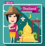 Thailand av kultur- och flickateckenet, lägenhetdesign Royaltyfri Fotografi