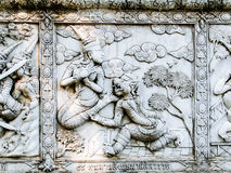 Thailand, Ayutthaya temple wall bass reliefs, carvings of aliens, gods Stock Photo