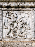 Thailand, Ayutthaya temple wall bass reliefs, carvings of aliens, gods Stock Image