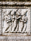 Thailand, Ayutthaya temple wall bass reliefs, carvings of aliens, gods Royalty Free Stock Photo