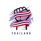 Thailand Hand and Flag Vector Template Design Illustration. Thailand background illustration hand design colorful travel pattern vector flag isolated symbol vector illustration