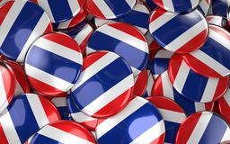 Thailand Badges Background - Pile of Thai Flag Buttons. Stock Photo