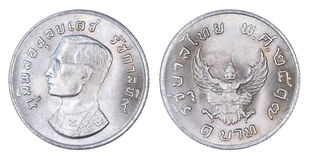 Thailand 1 baht coin, 1974 or B.E. 2517 isolated on white back Royalty Free Stock Images