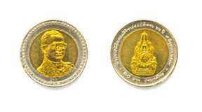 Thailand baht coins white background. Stock Image