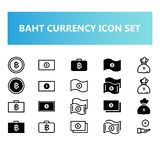 Thailand Baht currency icon set in solid and outline style vector illustration