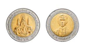 Thailand 10 baht Isolerat objekt på en vit bakgrund arkivfoto