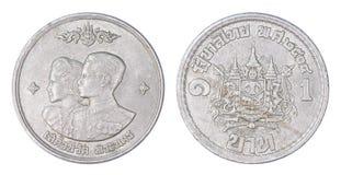 Thailand 1 Bahtmuntstuk, 1961 of B e geïsoleerde 2504 Royalty-vrije Stock Afbeeldingen