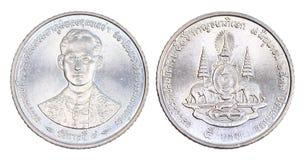 Thailand 5 Bahtmuntstuk, geïsoleerde 1996 Stock Afbeeldingen