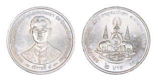 Thailand 2 Bahtmuntstuk, geïsoleerde 1996 Stock Afbeeldingen