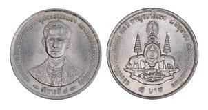 Thailand 1 Bahtmuntstuk, geïsoleerde 1996 Stock Fotografie