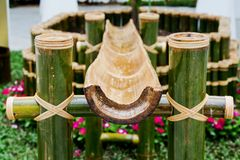 Thailand bamboo fountain with water Stock Photos