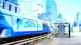 Thailand, Bangkok, 1 August 2014. Cityscape with train stock video