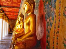 Thailand, Bangkok, Golden Buddha statue, temple on the river. Thailand, Bangkok, excursion to Wat Arun temple on the Chao Phraya river, Golden Buddha statue Royalty Free Stock Photo