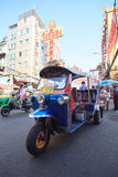 THAILAND,BANGKOK-FEB 24:TukTuk parking in Yaowarat Road main str Stock Photography