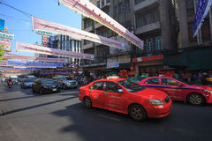 THAILAND,BANGKOK - FEB 24 :Yaowarat Road,the main street in Chin Stock Images
