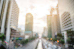 Thailand,Bangkok highway with building and defocused bokeh light Royalty Free Stock Images