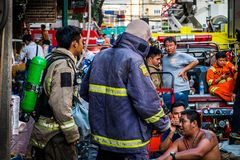 Firefighters are preparing to work. Thailand Bangkok - January 29 2018 : Firefighters are preparing to work,The fire at the Sampheng market Royalty Free Stock Photos