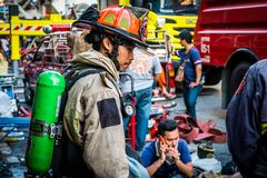 Firefighters are preparing to work. Thailand Bangkok - January 29 2018 : Firefighters are preparing to work,The fire at the Sampheng market Royalty Free Stock Image