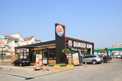THAILAND,BANGKOK - MAR16 :  New Burger King fast food restaurant. Branch open with drive thru service in gas station in bangkok on march 16,2015 in Bangkok Royalty Free Stock Photography