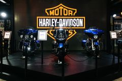 Thailand,Bangkok - 31 March 2018 : The Harley Davidson motorcycl. Es booth display at the 39th BANGKOK INTERNATIONAL MOTOR SHOW 2018 Royalty Free Stock Image