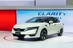 Thailand,Bangkok - 31 March 2018 : New Honda Clarity  white colo. Thailand,Bangkok - 31 March 2018 : New Honda Clarity fuel cell car white color on the 39th Stock Photo