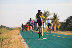 THAILAND,BANGKOK-MAY24 :unidentifies people riding road bicycle. In suvarnabhumi airport bicycle track about 24 km. around airport areaon may 24,2014 in Bangkok Stock Images