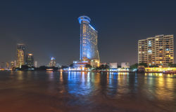 THAILAND, BANGKOK- Night Bangkok. Millenium Hilton Hotel Stock Photos